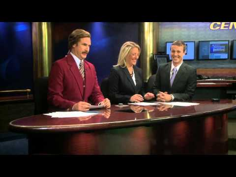 co - Ron Burgundy stopped by KXMB in Bismack to Co-Anchor the 6pm newscast with Amber Schatz, Jared Piepenburg- weather, and Jon Schaeffer- sports.