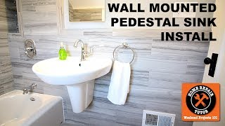 """Learn how to install a wall mounted pedestal sink with our video.https://www.homerepairtutor.com/wall-mounted-pedestal-sink/The list of supplies and materials we used is belowAmerican Standard Ravenna Sink Basin in White ($137)http://bit.ly/2tsFez5American Standard Ravenna Semi-Pedestal Sink Leg in White ($107)http://bit.ly/2tX8kqP1 1/4"""" P-Trap Kit ($6)http://amzn.to/2trWCnq1 1/4"""" Extension Tube - 12"""" in Length (optional) ($7)http://amzn.to/2sYaJO1Portsmouth Single-Handle High Arc Faucet ($248)http://bit.ly/2uBKBu6Measuring Tape (FREE or $10)http://amzn.to/2tTu2fXPencilSharkBite Shut Off Valves (optional) ($10)http://amzn.to/2tsyi4X2 Foot Level (FREE or $10-$20)http://amzn.to/2szTtPDDrill & Drive Kit(FREE or $129)http://bit.ly/2u2LNtEDrill Bits (FREE or $15)http://amzn.to/2sAg7HN1/2"""" Diamond Hole Saw (optional) ($9-$20)http://amzn.to/2sXLyezChannellock 10"""" Tongue and Groove Pliers ($15)http://amzn.to/2u2MKC5Caulking Gun ($5 to $15)http://amzn.to/2sAqOKn100% Clear Silicone ($4 to $8)http://amzn.to/2uVdPDNRatchet and Socket Set ($20 to $30)http://amzn.to/2sAwhAQRidgid Tail Piece Extension Cutter ($28)http://amzn.to/2sAwx2MCombination Wrench Set (FREE or $20)http://amzn.to/2u2NxmvInstalling a wall mounted pedestal sink can be a pain. This video shares how to install the floating pedestal, sink, faucet, and even cut through wall tile.We share a lot of tips you won't see in books or other videos. This tutorial is great for homes older than dirt.Here's what you'll see-how to floating pedestal sink leg-how to set up the plumbing -how to cut through wall tile with a diamond hole saw-how to install the faucet in the sink-how to install the P-Trap for the sink-how place the sink on the semi-pedestal sink legThis is a pretty darn good tutorial. If you have any questions please ask them in the comments. We'd be happy to help.This video is a great example of what we do over on Bathroom Repair Tutor. If you're doing a DIY bathroom remodel we encourage you to check it out at http:"""