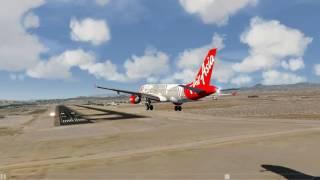 Video Air Asia A320 bumpy landing at Laughlin Bullhead (Aerofly 2) MP3, 3GP, MP4, WEBM, AVI, FLV Agustus 2018