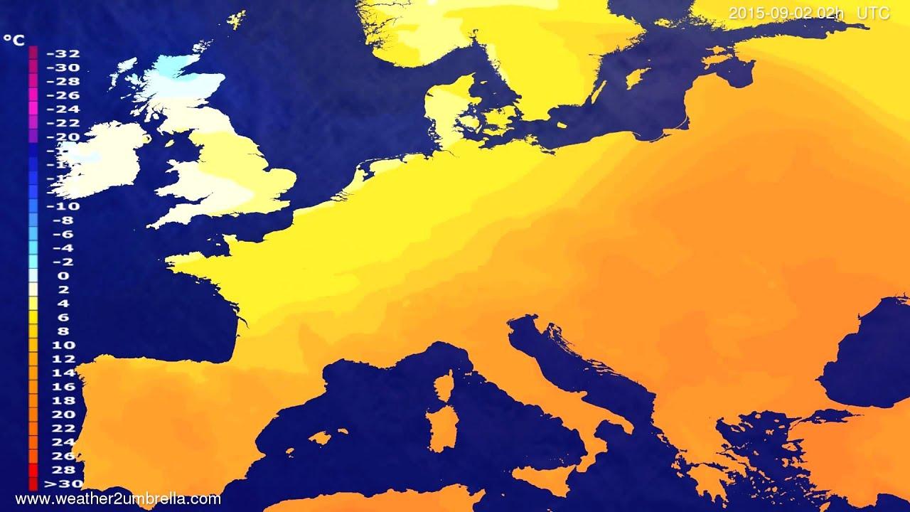Temperature forecast Europe 2015-08-30