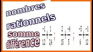 Maths 4ème - Les nombres rationnels Somme et Différence Exercice 5