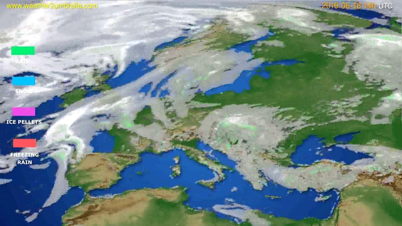 Precipitation forecast Europe // modelrun: 12h UTC 2019-06-16