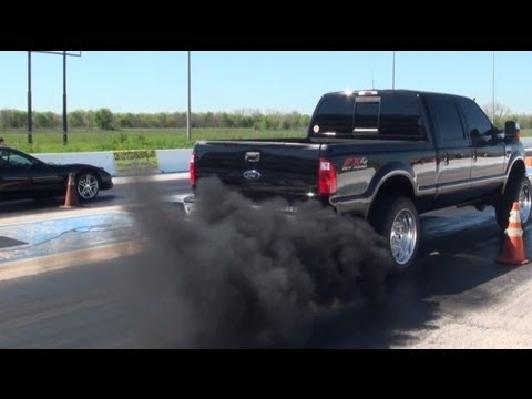 Trucks show off at the strip, beating muscle cars, sports cars and more