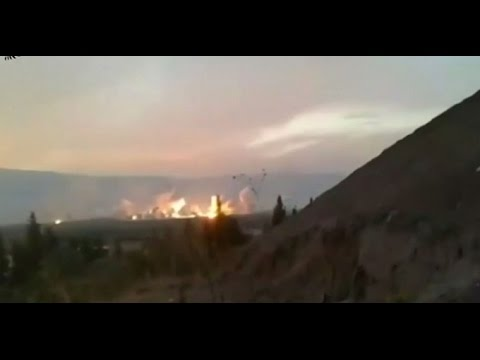 Amateur video posted to social media website purport to show the aftermath of Russian air strikes in the Syrian province of Hama and Idlib.