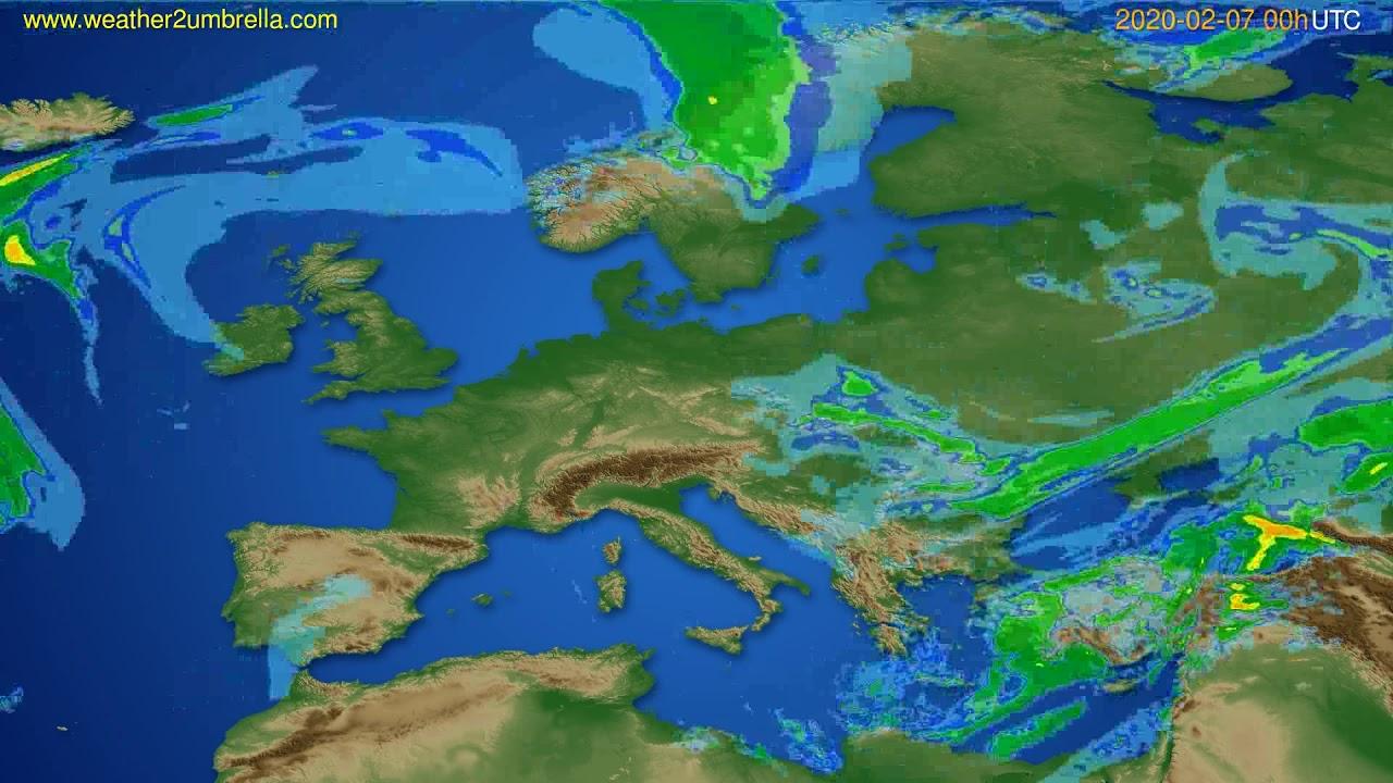 Radar forecast Europe // modelrun: 12h UTC 2020-02-06