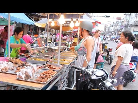 Hatyai: Street Food & Shopping at a Huge Street Market in Thailand. Thai Food Market in Hat Yai
