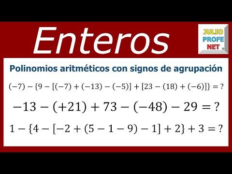 Tres ejemplos de polinomios aritméticos con signos de agrupación