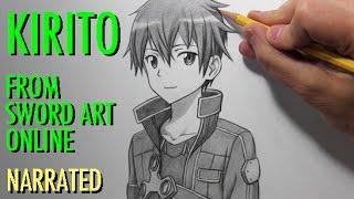 Видео: как нарисовать Кадзуто Киригая (подробный урок)