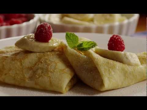 French Recipe: How to Make French Crepes filled with Fruit or Scrambled Eggs and Ham
