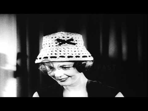 British models display hats for the new spring fashion in England. HD Stock Footage