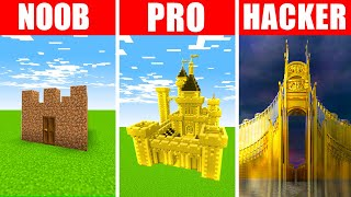 Minecraft NOOB vs. PRO vs. HACKER : GOLDEN CASTLE BUILD CHALLENGE in Minecraft!