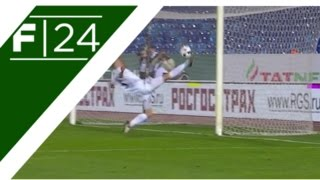 Ural's teenage defender Dominik Dinga keeps his side just about in the game with this acrobatic goal-line clearance. The Serbian's effort kept the score at 2...