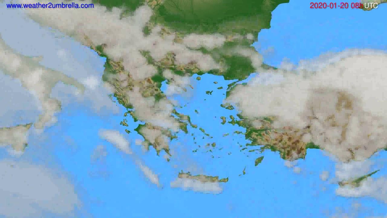 Cloud forecast Greece // modelrun: 12h UTC 2020-01-19