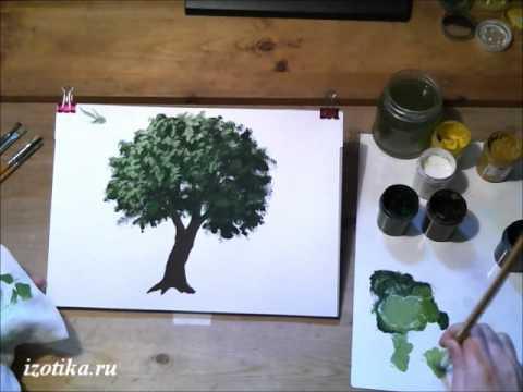 Как нарисовать дерево гуашью