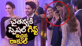 Video Rakul Preet SPECIAL gift to #chaysam @ Samantha Naga Chaitanya Wedding Reception | Filmylooks MP3, 3GP, MP4, WEBM, AVI, FLV November 2017