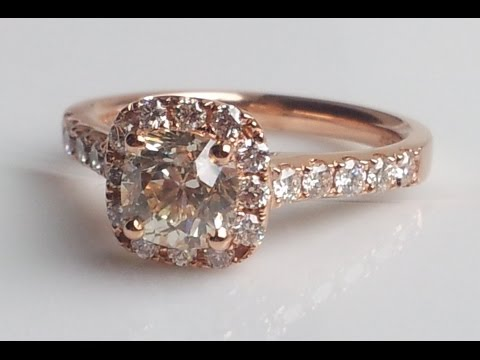 1.49ct Sustainable Cushion Cut Diamond & Rose Gold 'Halo' Engagement Ring For Sale