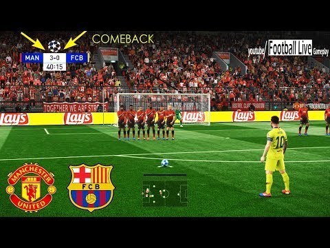 PES 2019 | Manchester United vs Barcelona | Messi Free Kick Goal | UEFA Champions League - UCL