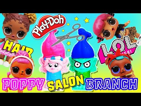 Play doh - Trolls Play-doh Salon! LOL Surprise Dolls Cherry and Court Champ Give Poppy and Branch New Hair!
