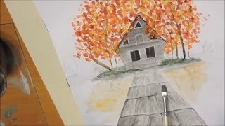 Lake Hut - water color painting timelapse