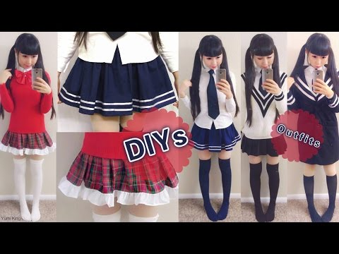 DIY Daily Anime Japanese School Uniforms for Beginners: DIY Navy Skirt+Plaid Skirt+School Outfits (видео)