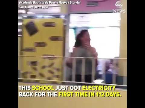 school in Puerto Rico rejoices at getting electricity back after 112 days