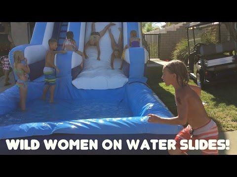 WILD WOMEN ON WATER SLIDES!