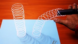 New!! How to draw Line spiral 3D illusion without cutting paper | Amazing 3D Drawing Art