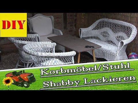 Gartenmöbel - Korbmöbel/Stühle in Shabby Lackieren von #ingoderheimwerker