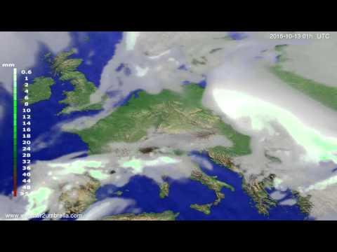 Precipitation forecast Europe 2015-10-10