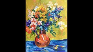 Maximilien Luce was an impressionist painter at the turn of the century. His Bouquet of Flowers in this colorful orange vase is topped with a variety of colorful flowers in purples, pinks, golds and whites. This acrylic painting by Ginger Cook  is easy to follow along as she takes you step by step from start to finish in this full length tutorial. canvas size 8x10 but can easily be painted larger. Being the GOLD STANDARD in acrylic painting lessons, Ginger Cook will be exploring the Fine Art of Acrylic Painting by offering tips and tricks to help you with your own acrylic paintings. During her live broadcast, Ginger will be taking questions and may demonstrate the answer when possible. In this week's exciting episode...Lesson to be announced! Join Ginger Cook, Master Acrylic Artists, for Live Lessons right here on YouTube every Monday, and Tuesday evening at 7:30pm central. You will meet other artists and be able to ask questions in this live interactive session. We talk about art and other fun subjects as Ginger shows you step by step how to paint another masterpiece with acrylic paints. Join Ginger as she shows you how creating with acrylic paints can be easy, fun and stress-free. Looking for something to paint that we haven't shown yet? Let us know by using the Contact Us form on our website, https://gingercooklive.gallery/contact-us/! Let us hear from you, as you continue your voyage to discover the artist within. We are here to make you the best artist by offering Personal Art Coaching on our website, https://GingerCookLive.gallery, with a paid monthly or yearly membership subscription. Starting as low as $21.95 for seniors/military. Visit our website to learn more at https://gingercooklive.gallery/membership-sign-up/  You can view our lessons to see the broad range of subjects that we cover as well as different styles and techniques here: https://gingercooklive.gallery/gallery/ You can even try our lessons of over 250 lessons currently available for just $9.95