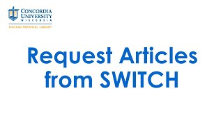 Request Articles from SWITCH