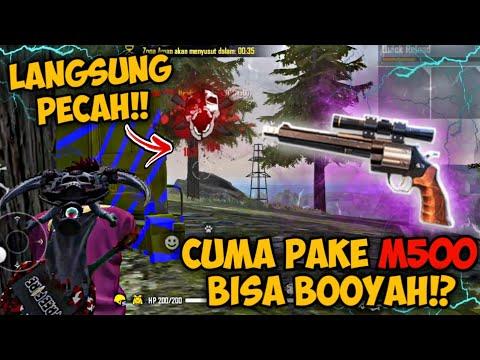 CUMA PAKE M500 !! BISA BOOYAH ?! KEPALA MUSUHPUN SAMPAI COPOT   FREE FIRE INDONESIA