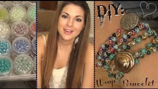 DIY: Beaded Wrap Bracelet - YouTube