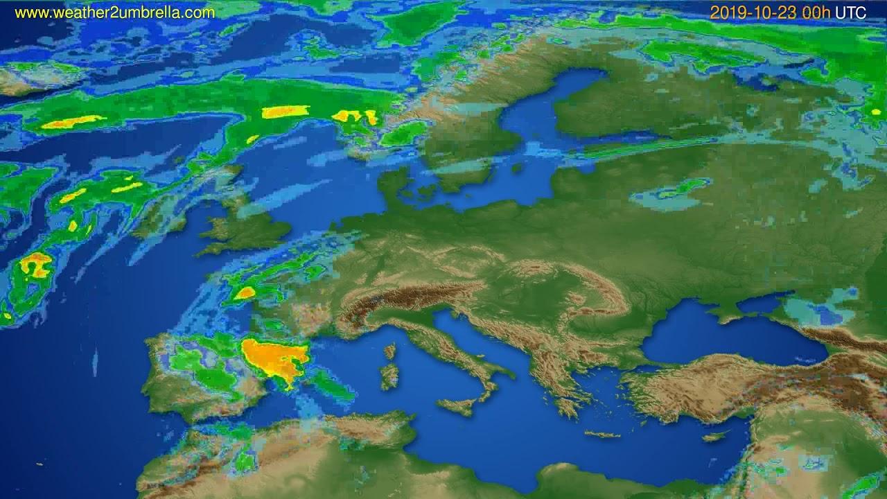 Radar forecast Europe // modelrun: 12h UTC 2019-10-22
