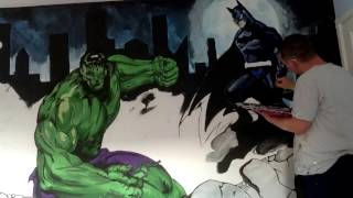 THE HULK, SPIDERMAN AND BATMAN MURAL TIME LAPSE by drews wonder walls!!