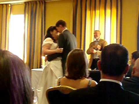 Wedding kiss and wardrobe malfunction