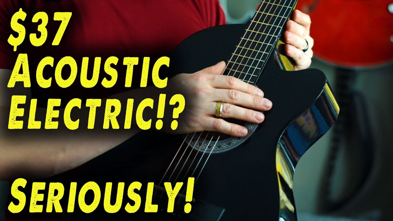 Playing a $37 Acoustic Electric Guitar! (Not clickbait!) – Demo / Review