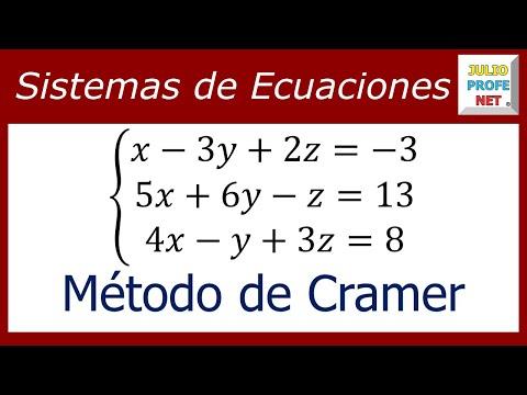 SISTEMA DE ECUACIONES LINEALES 3×3 POR MÉTODO DE CRAMER