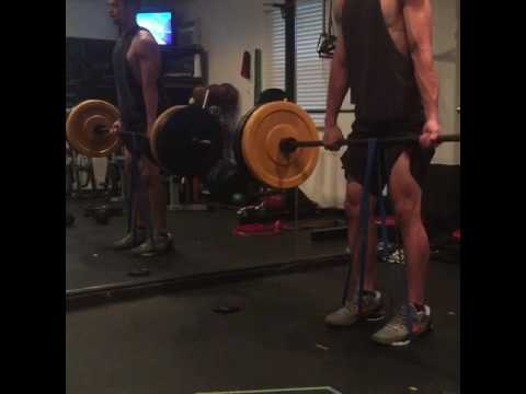 Deadlifts with a band for added power