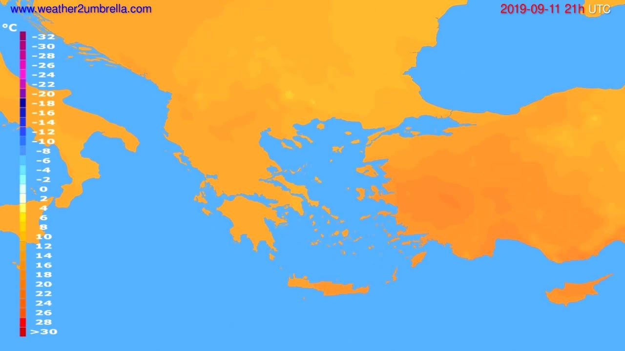 Temperature forecast Greece // modelrun: 00h UTC 2019-09-10