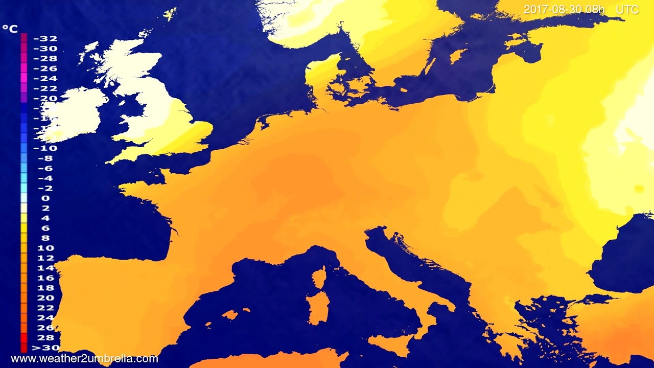 Temperature forecast Europe 2017-08-27