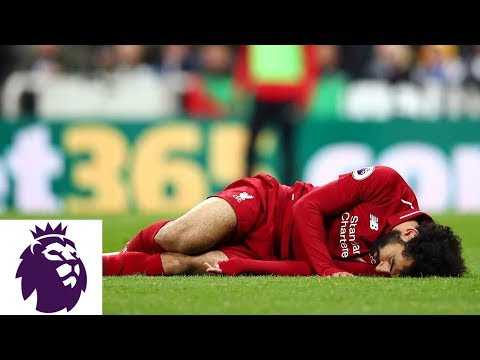 Mohamed Salah Injured After Knock To Head | Premier League | NBC Sports