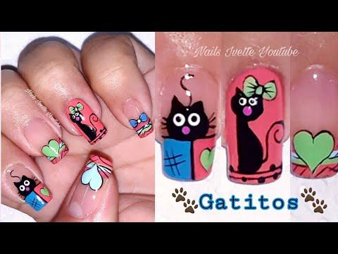 Uñas decoradas - Decoración de uñas gatitos, diseños de uñas corazones, diseño de uñas moño