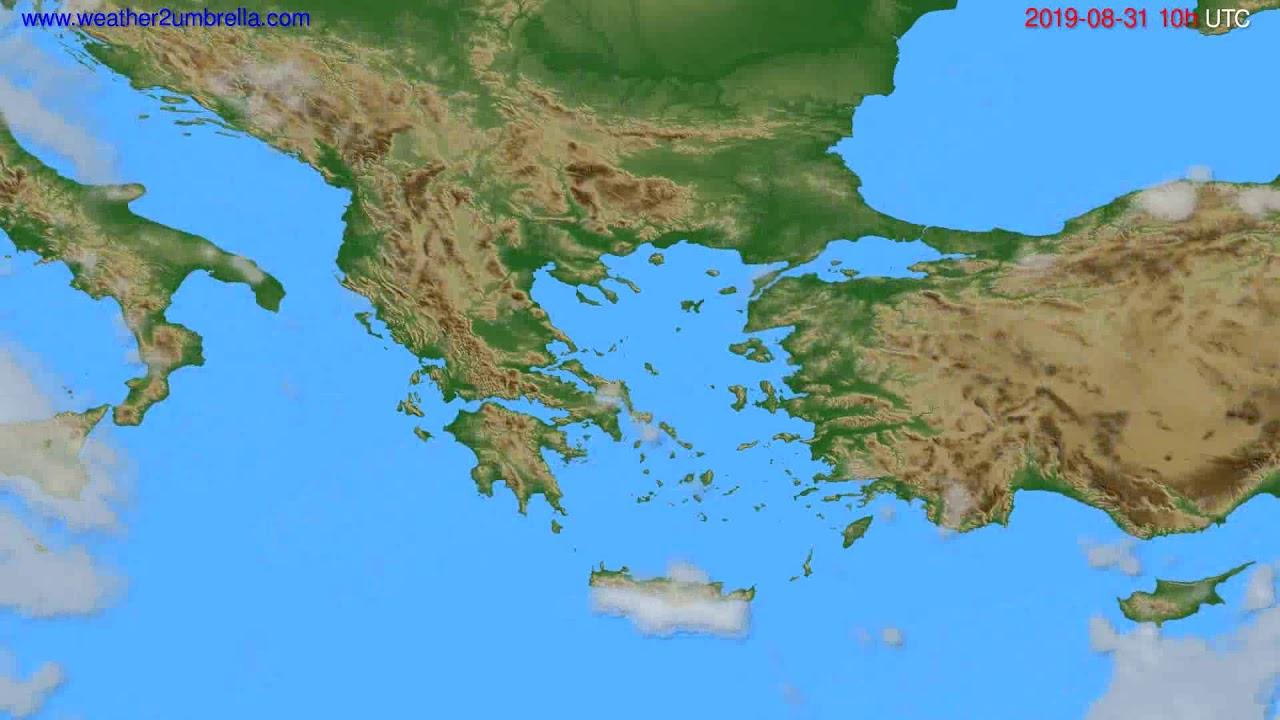 Cloud forecast Greece // modelrun: 12h UTC 2019-08-28