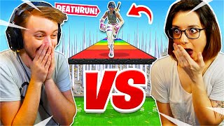 I played a 1v1 Deathrun Race vs my Girlfriend... *HARD* (Fortnite Creative)