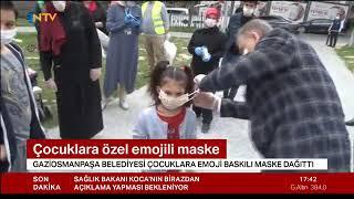 Sokağa Çıkan Çocuklara Maske Dağıtımı - Ntv