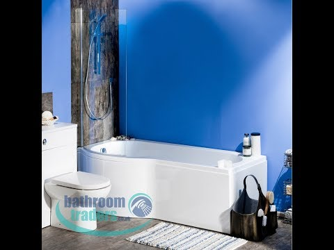 1700 P Shape Bath & Curved Shower Bath Screen