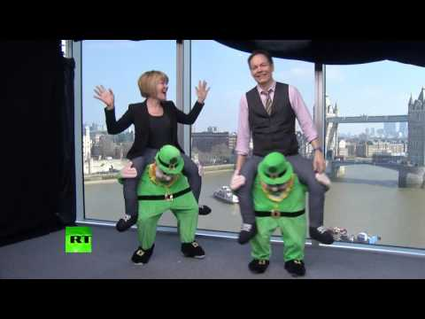 Max Keiser 'fights' Stacy on St. Patrick's Day while dancing on drunk leprechaun