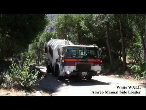 White WXLL/Amrep Manual Side Load Garbage Truck