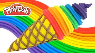 Play-Doh How to Make a Waffle Cone with Rainbow Ice Cream * Cr...